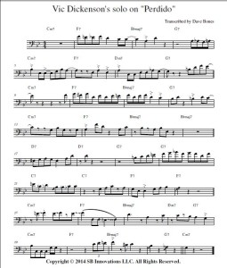 Jazz Trombone Vic Dickenson Transcription on Perdido